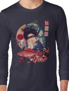 Collage Geisha Samurai in Coral, Indigo and Marsala Long Sleeve T-Shirt