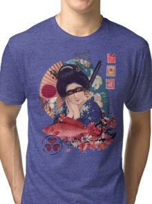Collage Geisha Samurai in Coral, Indigo and Marsala Tri-blend T-Shirt