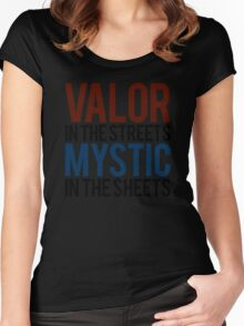 Valor in the Streets, Mythic in the Sheets (Pokemon GO) Women's Fitted Scoop T-Shirt
