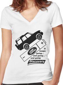 Energiser Battery - Land Rover (Parody) Women's Fitted V-Neck T-Shirt