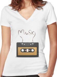 Audio tape retro music Women's Fitted V-Neck T-Shirt