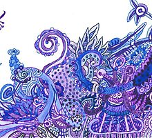 Purple and Blue Imaginary Jungle by creationsbyjdb