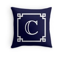 Navy Blue White Monogram C In A White Greek Key Square Throw Pillow