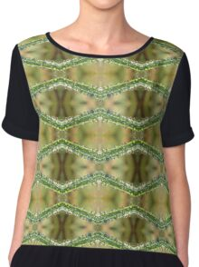 Macro Grass Droplets Pattern Chiffon Top