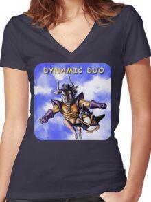 GNU & TUX Dynamic Duo Women's Fitted V-Neck T-Shirt