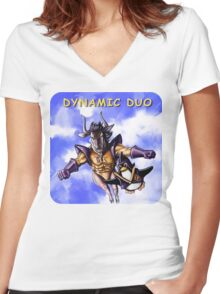 GNU & TUX Dynamic Duo Women's Fitted V-Neck T-Shirt