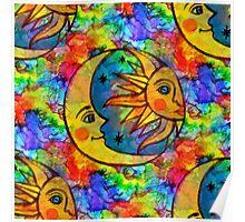 Sun N Moon Hippy Rainbow Poster