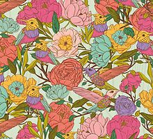 Vector floral patterns with birds and flowers by tomuato