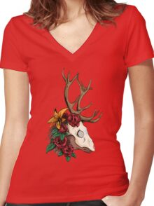 The Deer Crown Women's Fitted V-Neck T-Shirt
