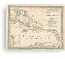 Vintage Map of The Caribbean (1850) Canvas Print