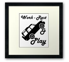 Mars Work Rest Play Land Rover (Parody) Framed Print