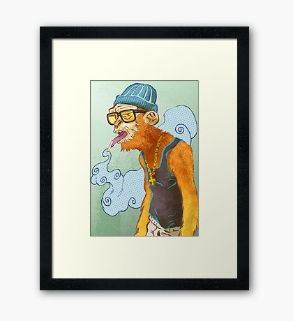 Monkey Smoke Framed Print