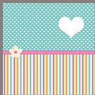 polka hearts and stripes teal by studenna
