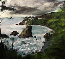 "Oregon Coast, West Coast America Acrylic Painting On 11"" x 14"" Canvas Board by JamesPeart"