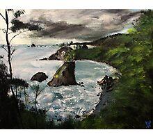 "Oregon Coast, West Coast America Acrylic Painting On 11"" x 14"" Canvas Board Photographic Print"