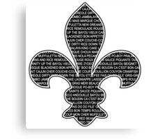 Louisiana Fleur De Lis (Louisiana / Cajun wording) Canvas Print