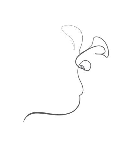 One line Kiss white 2016 Sticker