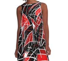 Red and black abstraction  A-Line Dress