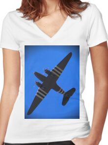 BBMF WW2 Dakota Women's Fitted V-Neck T-Shirt