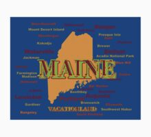 Maine State Pride Map Silhouette  Kids Clothes