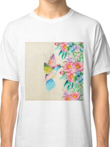 Whimsical watercolor hummingbird and  floral hand paint Classic T-Shirt