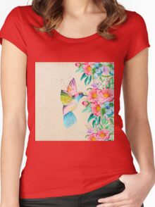 Whimsical watercolor hummingbird and  floral hand paint Women's Fitted Scoop T-Shirt