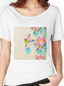 Whimsical watercolor hummingbird and  floral hand paint Women's Relaxed Fit T-Shirt