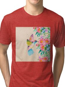 Whimsical watercolor hummingbird and  floral hand paint Tri-blend T-Shirt