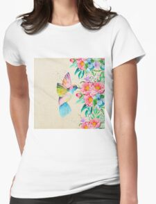 Whimsical watercolor hummingbird and  floral hand paint Womens Fitted T-Shirt