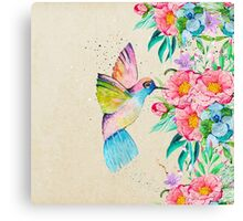 Whimsical watercolor hummingbird and  floral hand paint Canvas Print