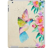 Whimsical watercolor hummingbird and  floral hand paint iPad Case/Skin