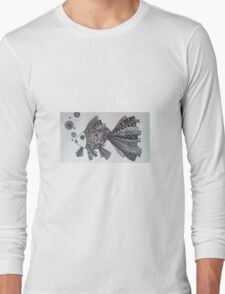 Goldfish Zentangle (black and white) Long Sleeve T-Shirt