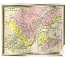 Vintage Map of Eastern Canada (1850) Poster