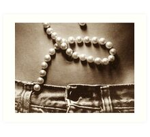 Buttons and Pearls in Sepia Art Print