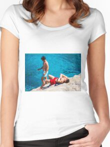 Sexy guys on Beach Women's Fitted Scoop T-Shirt