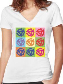 45 Record Holder Pop Art T-Shirt Women's Fitted V-Neck T-Shirt