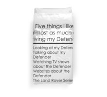 5 Things I Like - Defender Duvet Cover