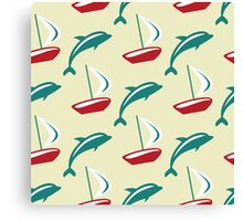 Boat and dolphin seamless pattern. Simple marine background.  Canvas Print