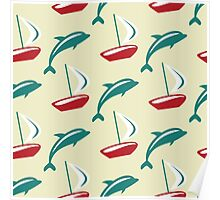 Boat and dolphin seamless pattern. Simple marine background.  Poster