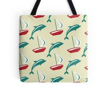 Boat and dolphin seamless pattern. Simple marine background.  Tote Bag