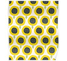 Simple abstract  sunflower pattern. Doodle pastel seamless background. Cute wallpaper. Poster
