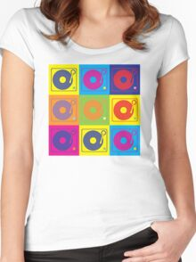 Vinyl Record Turntable Pop Art 2 Women's Fitted Scoop T-Shirt