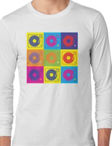 Vinyl Record Turntable Pop Art 2 Long Sleeve T-Shirt