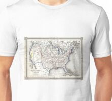 Vintage United States Gold Rush Regions Map (1852) Unisex T-Shirt
