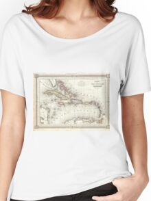 Vintage Map of The Caribbean (1852) Women's Relaxed Fit T-Shirt