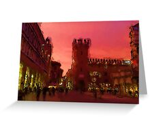 Pop sunset on the city Greeting Card