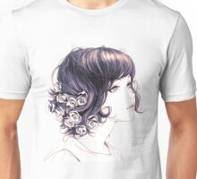 Cute Lady with flowers on hair drawing Unisex T-Shirt
