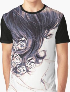 Cute Lady with flowers on hair drawing Graphic T-Shirt