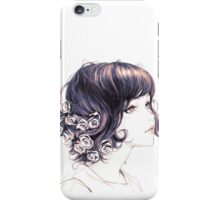 Cute Lady with flowers on hair drawing iPhone Case/Skin