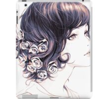 Cute Lady with flowers on hair drawing iPad Case/Skin